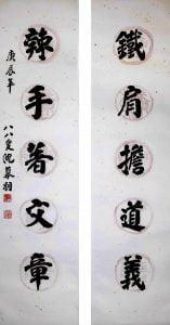《录杨继盛五言联句》 楷书 对联 127 x 30cm x 2